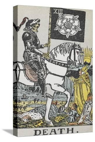Tarot Card With Death Wearing Armor-Arthur Edward Waite-Stretched Canvas Print