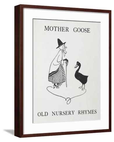 Mother Goose. Old Lady With Goose-Arthur Rackham-Framed Art Print