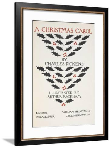 Title Page Illustrated With Holly Leaves and Berries-Arthur Rackham-Framed Art Print