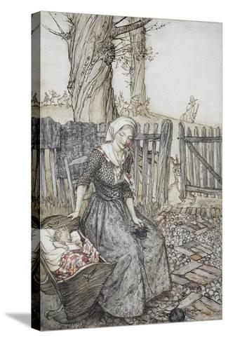 Bye, Baby Bunting.' Mother With Her Baby in a Cot. Father Going Hunting in the Background-Arthur Rackham-Stretched Canvas Print
