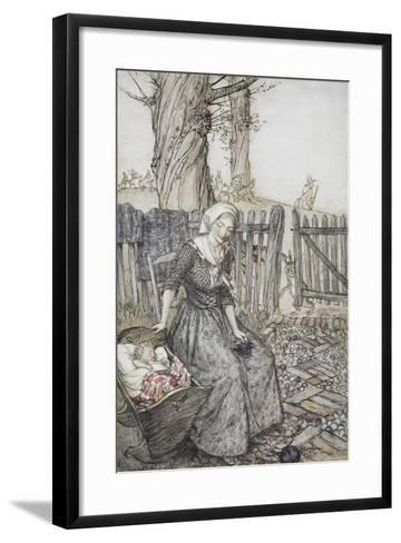 Bye, Baby Bunting.' Mother With Her Baby in a Cot. Father Going Hunting in the Background-Arthur Rackham-Framed Art Print