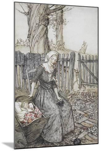 Bye, Baby Bunting.' Mother With Her Baby in a Cot. Father Going Hunting in the Background-Arthur Rackham-Mounted Giclee Print