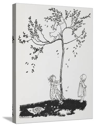 Two Children Try To Get a Cat Down From a Tree-Arthur Rackham-Stretched Canvas Print