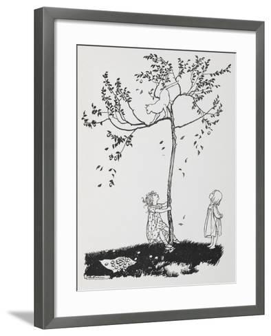 Two Children Try To Get a Cat Down From a Tree-Arthur Rackham-Framed Art Print
