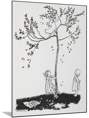 Two Children Try To Get a Cat Down From a Tree-Arthur Rackham-Mounted Giclee Print