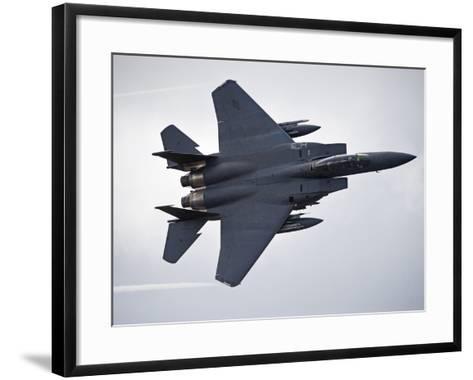 F-15E Strike Eagle Low Flying Over North Wales-Stocktrek Images-Framed Art Print