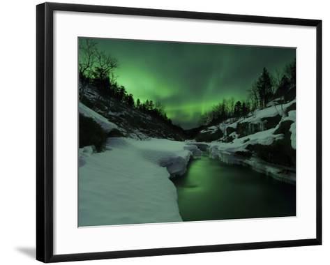 Aurora Borealis Over Tennevik River, Troms, Norway-Stocktrek Images-Framed Art Print