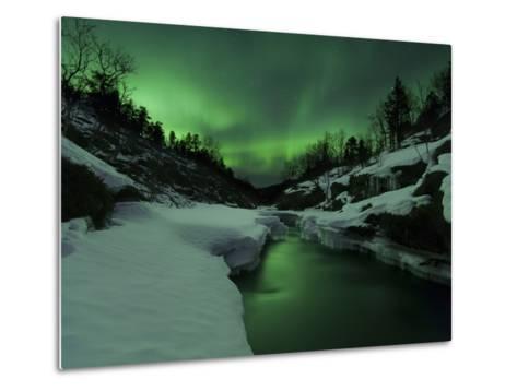 Aurora Borealis Over Tennevik River, Troms, Norway-Stocktrek Images-Metal Print
