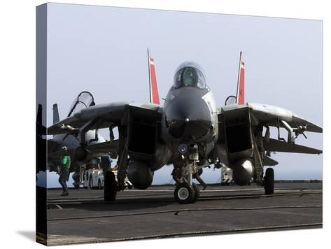 An F-14D Tomcat On the Flight Deck of USS Theodore Roosevelt-Stocktrek Images-Stretched Canvas Print