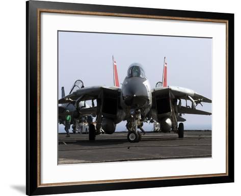 An F-14D Tomcat On the Flight Deck of USS Theodore Roosevelt-Stocktrek Images-Framed Art Print