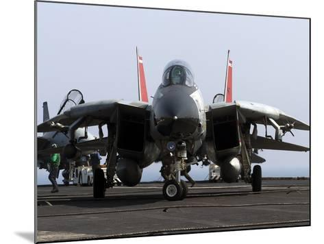 An F-14D Tomcat On the Flight Deck of USS Theodore Roosevelt-Stocktrek Images-Mounted Photographic Print