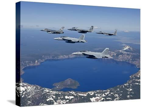 A Five Ship Aircraft Formation Flies Over Crater Lake, Oregon-Stocktrek Images-Stretched Canvas Print