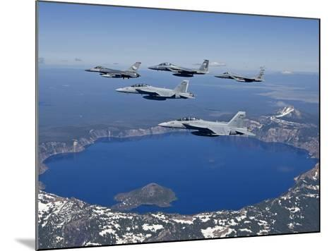 A Five Ship Aircraft Formation Flies Over Crater Lake, Oregon-Stocktrek Images-Mounted Photographic Print