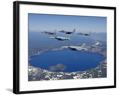 A Five Ship Aircraft Formation Flies Over Crater Lake, Oregon-Stocktrek Images-Framed Art Print