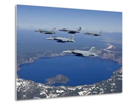 A Five Ship Aircraft Formation Flies Over Crater Lake, Oregon-Stocktrek Images-Metal Print