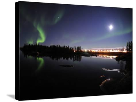 Aurora Borealis Over Long Lake, Northwest Territories, Canada-Stocktrek Images-Stretched Canvas Print
