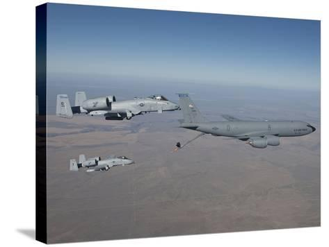 Two A-10C Thunderbolt's Prepare To Refuel from a KC-135 Stratotanker-Stocktrek Images-Stretched Canvas Print