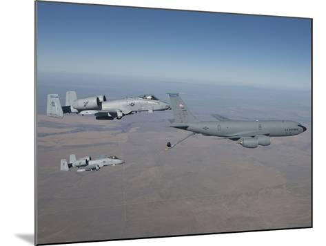 Two A-10C Thunderbolt's Prepare To Refuel from a KC-135 Stratotanker-Stocktrek Images-Mounted Photographic Print