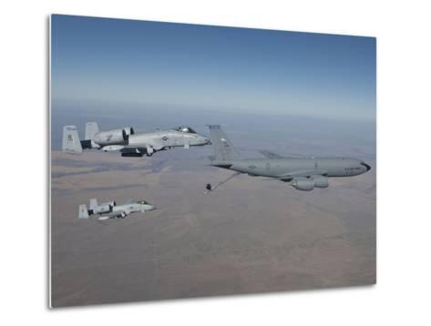 Two A-10C Thunderbolt's Prepare To Refuel from a KC-135 Stratotanker-Stocktrek Images-Metal Print