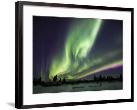 Aurora Borealis Over a Ranch, Whitehorse, Yukon, Canada-Stocktrek Images-Framed Art Print