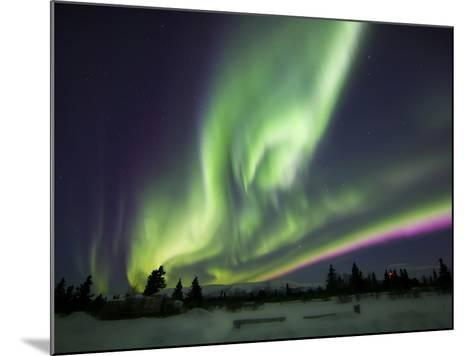 Aurora Borealis Over a Ranch, Whitehorse, Yukon, Canada-Stocktrek Images-Mounted Photographic Print