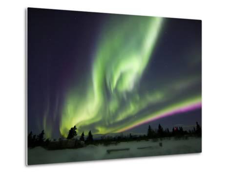 Aurora Borealis Over a Ranch, Whitehorse, Yukon, Canada-Stocktrek Images-Metal Print