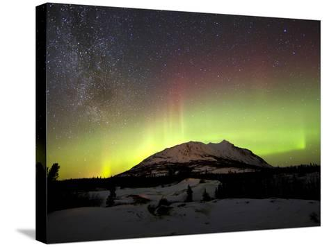 Aurora Borealis And Milky Way Over Carcross Dessert, Canada-Stocktrek Images-Stretched Canvas Print