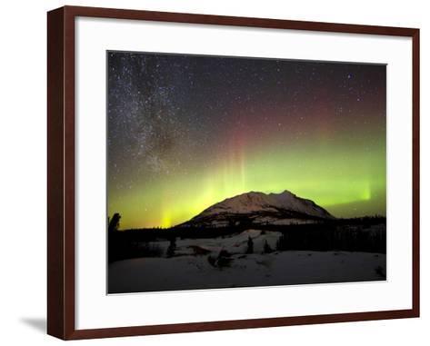 Aurora Borealis And Milky Way Over Carcross Dessert, Canada-Stocktrek Images-Framed Art Print