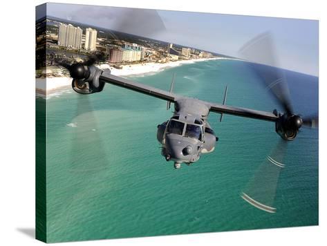 A CV-22 Osprey Aircraft Flies Over Florida's Emerald Coast-Stocktrek Images-Stretched Canvas Print