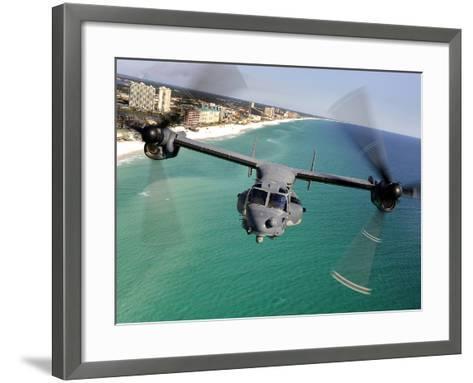 A CV-22 Osprey Aircraft Flies Over Florida's Emerald Coast-Stocktrek Images-Framed Art Print
