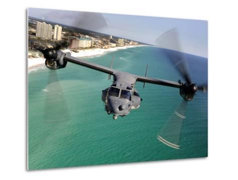A CV-22 Osprey Aircraft Flies Over Florida's Emerald Coast-Stocktrek Images-Metal Print