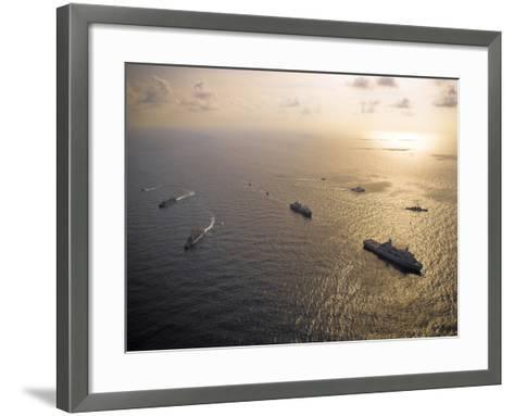 A Multi-national Naval Force Navigates the Waters of the Caribbean Sea-Stocktrek Images-Framed Art Print