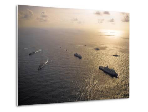 A Multi-national Naval Force Navigates the Waters of the Caribbean Sea-Stocktrek Images-Metal Print