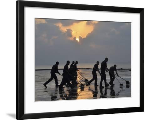 U.S. Navy Sailors Wash Down the Flight Deck of the Aircraft Carrier USS Nimitz-Stocktrek Images-Framed Art Print