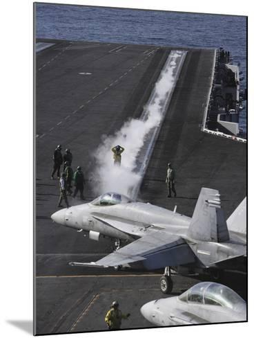 An FA-18D Hornet Taxis To the Catapult Aboard the Aircraft Carrier USS Ronald Reagan-Stocktrek Images-Mounted Photographic Print