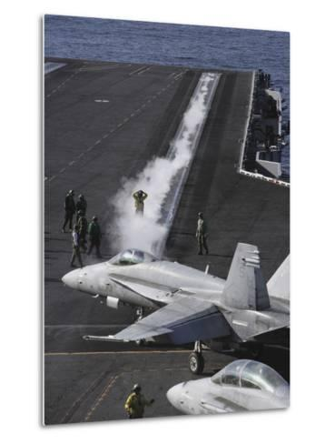 An FA-18D Hornet Taxis To the Catapult Aboard the Aircraft Carrier USS Ronald Reagan-Stocktrek Images-Metal Print