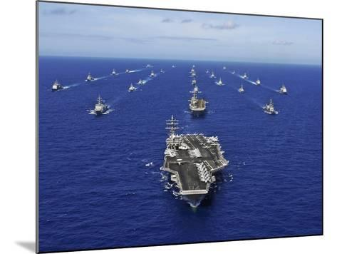 Aircraft Carrier USS Ronald Reagan Transits the Pacific Ocean with a Fleet of Ships-Stocktrek Images-Mounted Photographic Print