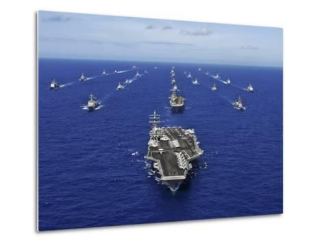 Aircraft Carrier USS Ronald Reagan Transits the Pacific Ocean with a Fleet of Ships-Stocktrek Images-Metal Print