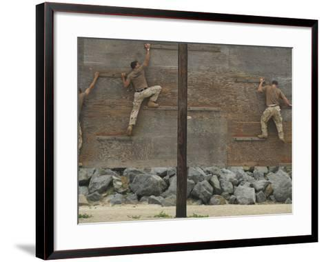 Sailors Crawl Across Narrow Planks of Wood As Part of An Obstacle Course-Stocktrek Images-Framed Art Print