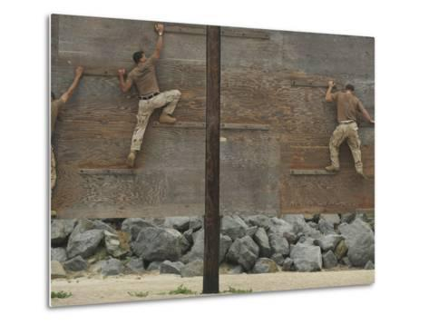 Sailors Crawl Across Narrow Planks of Wood As Part of An Obstacle Course-Stocktrek Images-Metal Print