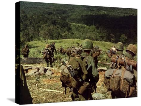 Soldiers Descend the Side of Hill 742, Five Miles Northwest of Dak To, Vietnam-Stocktrek Images-Stretched Canvas Print