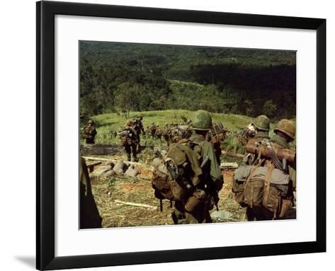 Soldiers Descend the Side of Hill 742, Five Miles Northwest of Dak To, Vietnam-Stocktrek Images-Framed Art Print