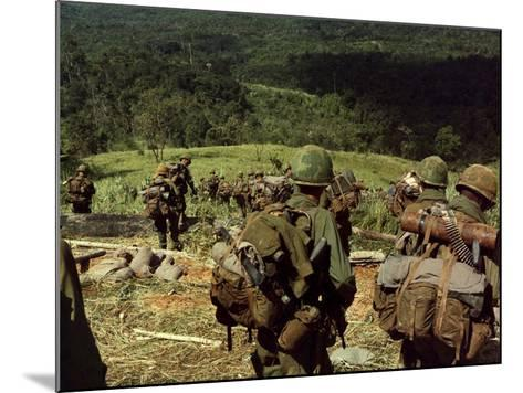 Soldiers Descend the Side of Hill 742, Five Miles Northwest of Dak To, Vietnam-Stocktrek Images-Mounted Photographic Print
