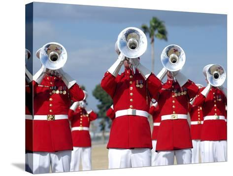 U.S. Marine Corps Drum And Bugle Corps Performing-Stocktrek Images-Stretched Canvas Print