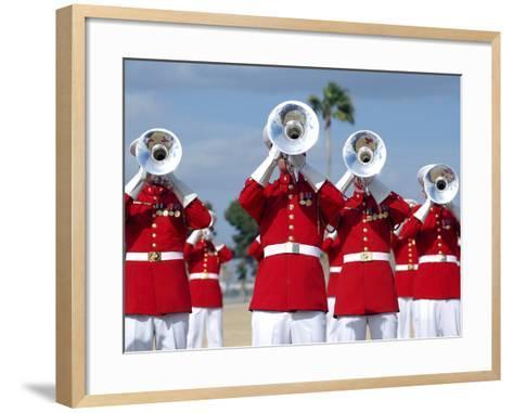 U.S. Marine Corps Drum And Bugle Corps Performing-Stocktrek Images-Framed Art Print