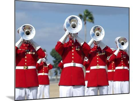 U.S. Marine Corps Drum And Bugle Corps Performing-Stocktrek Images-Mounted Photographic Print