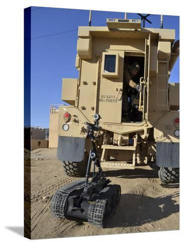 A Talon Mark 2 Bomb Disposal Robot Is Deployed from a Rapid Response Vehicle-Stocktrek Images-Stretched Canvas Print