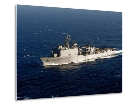 The Whidbey Island-class Dock Landing Ship USS Rushmore-Stocktrek Images-Metal Print