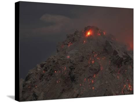 Glowing Summit of Rerombola Lava Dome of Paluweh Volcano-Stocktrek Images-Stretched Canvas Print