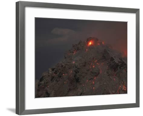 Glowing Summit of Rerombola Lava Dome of Paluweh Volcano-Stocktrek Images-Framed Art Print